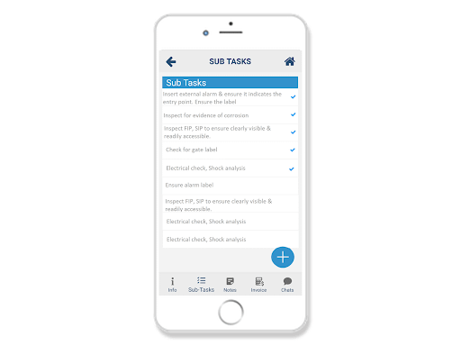 create checklist to perform tasks in field worker mobile app