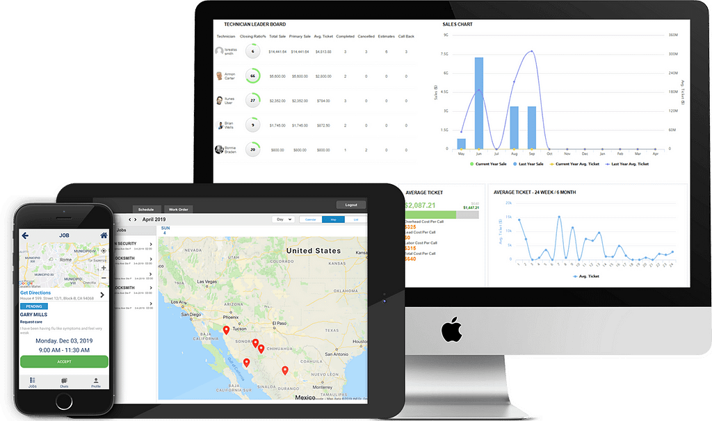 e-strats Field Service Workforce Management App & Software available on multiple device