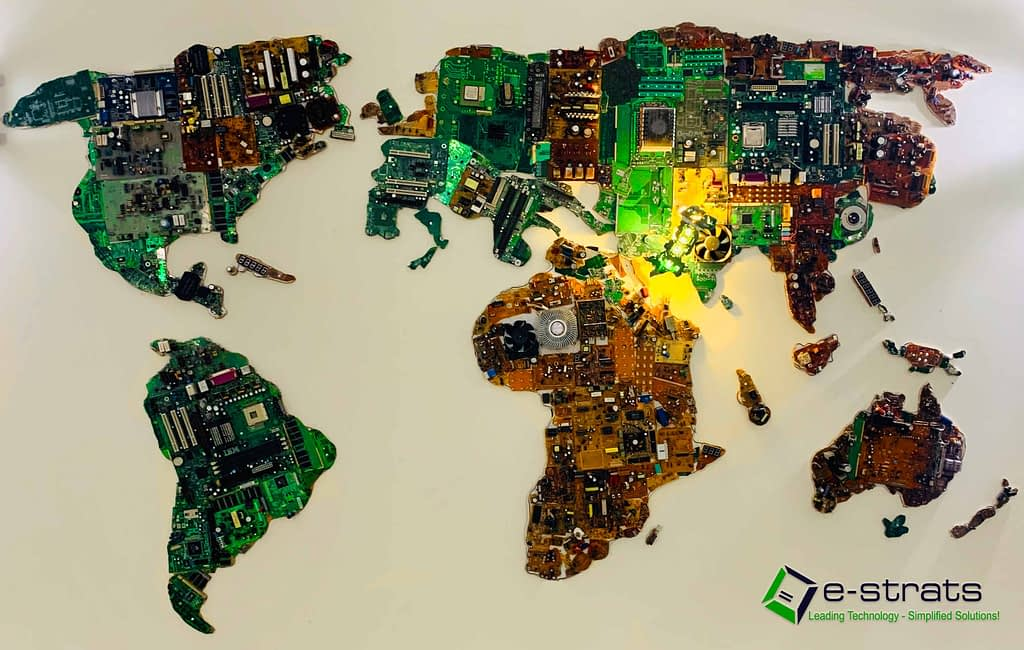 e-waste electronic recycling IT project | worldmap made out of computer chips
